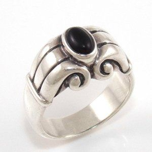 Rtd James Avery Sterling Onyx Scroll Ring Size6.25